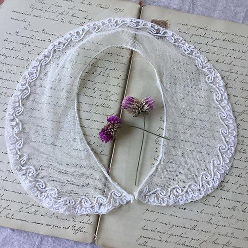 フランス アンティーク チュールレース つけ襟 コード刺繍 ピーターパンの襟