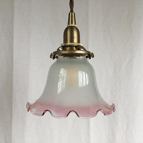 フランスアンティーク ランプシェード 照明 白 x ピンクフリル  (すりガラスxクリアガラス) (シェードのみ)