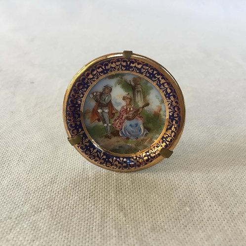 フランス アンティーク リモージュ 金彩 立体ペイント ミニチュア 絵皿 A 3.9 cm (金具付き)
