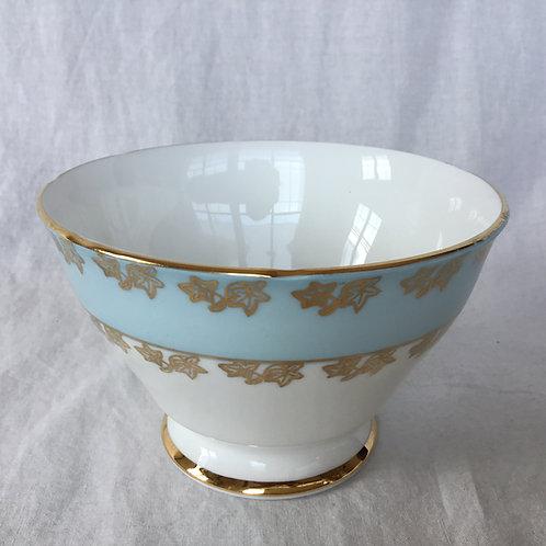 イギリス ビンテージ GLADSTONE グラッドストーン シュガーボウル ライトブルー 水色 白 金彩