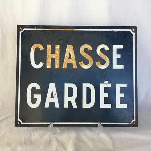 """フランス アンティーク ホーロー サインボード """" CHASSE GARDÉE """" (送料無料)"""