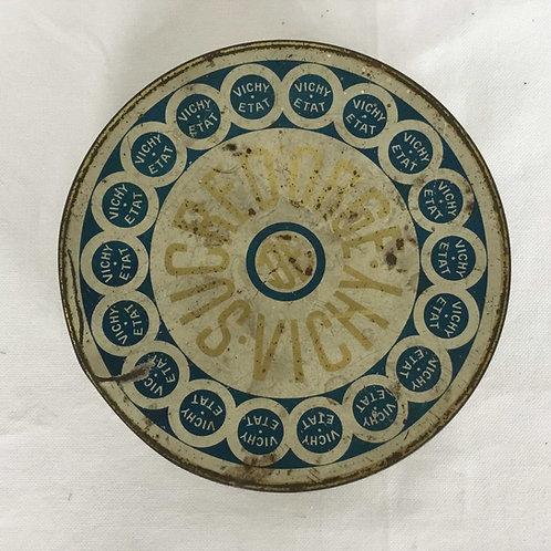 フランス アンティーク ブリキ缶  VICHY  ヴィシー Sucre d'Orge ティン缶 円形 16.6cm