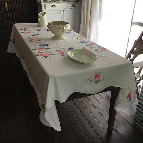 フランス アンティーク コットン テーブルクロス アップリケ 花柄A ピンクエッジ  長方形 161 x 214cm (送料無料)