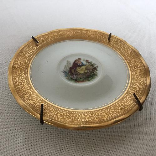 フランスアンティーク リモージュ 金彩 壁掛けプレート 絵皿 ゴールドA 14cm(金具付き)