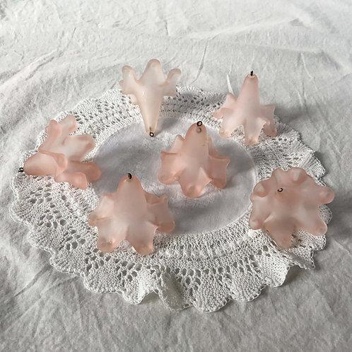 フランス アンティーク シャンデリアパーツ ピンク すりガラス(6個セット)