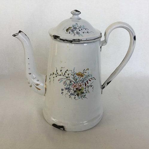 フランス アンティーク B&W社 カフェティエール コーヒーポット 白花柄  (送料無料)