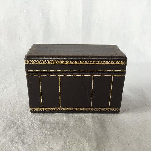 フランスアンティーク シガレットボックス 木製/金彩革張り タバコ入れ