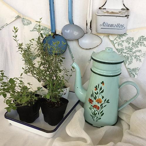 フランスアンティーク ホーロー カフェティエール コーヒーポット  ダブル ミントグリーン花柄