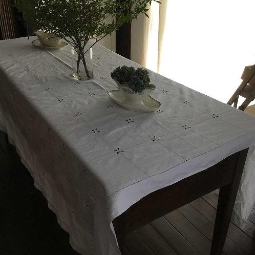 フランス アンティーク リネン テーブルクロス ドロンワーク カットワーク ホワイト 白 180 x 170 cm (送料無料)