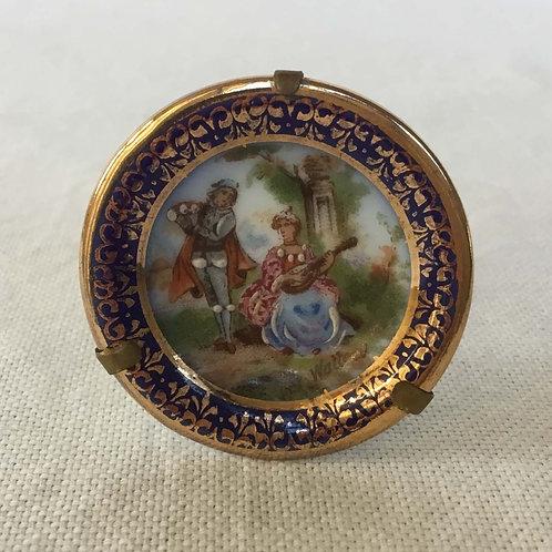(ミニチュア)フランス アンティーク リモージュ 金彩 立体ペイント  絵皿 A 3.9 cm (金具付き)