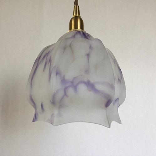 イギリス アンティーク ランプシェード マーブル パープル (すりガラス) (シェードのみ) (送料無料)