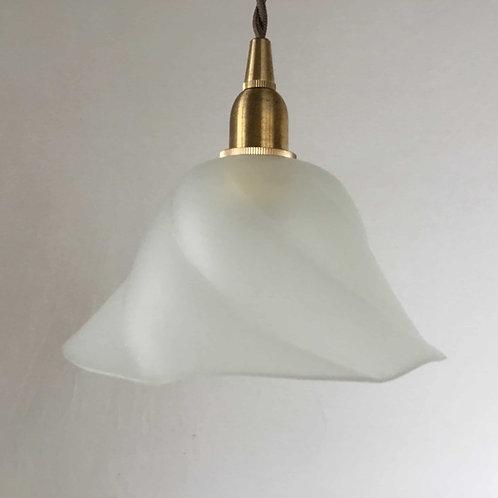 (在庫3) フランス アンティーク ランプシェード 照明 フロストガラス 渦巻き (すりガラス)(シェードのみ)