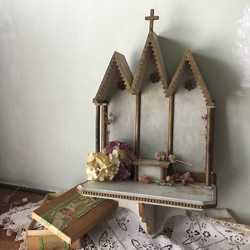 フランス アンティーク キリスト教 神棚 祭壇 棚 シェルフ 木製 約70cm (1910年製造)  (送料無料)