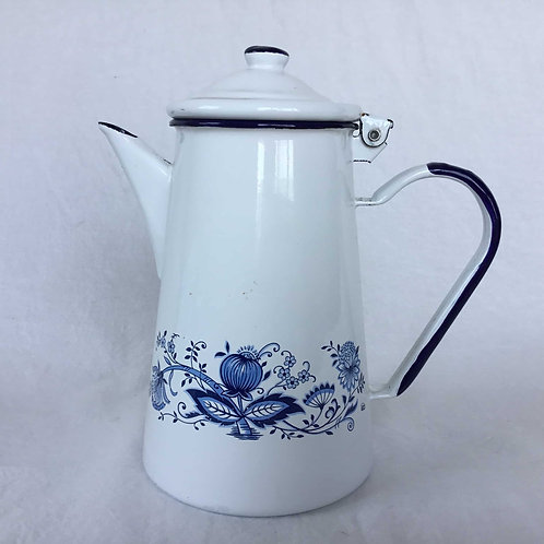 ドイツ ELO社製 アンティーク ホーロー コーヒーポット カフェティエール オニオン柄 白と紺