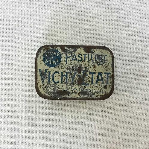 フランスアンティーク ブリキ缶 VICHY ヴィシー ティン缶 ミント缶 長方形(S)