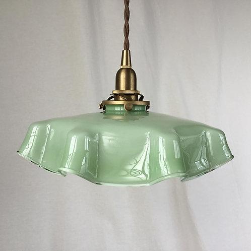 フランスアンティーク ガラス ランプシェード オパリン 薄緑色 ライトグリーン ミントグリーン (シェードのみ) (送料無料)