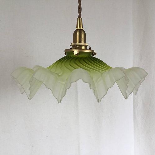 フランスアンティーク 照明 ランプシェード 黄緑 (すりガラス) (シェードのみ) (送料無料)