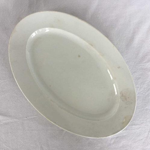 フランス クレイユエモントロー オパック アンティーク 皿 オーバルプレート 32 cm (1849-67)(送料無料)
