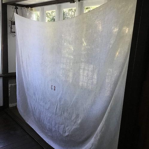 フランス アンティーク ダマスク織 モノグラム テーブルクロス長方形 リネン 155 x 215 cm