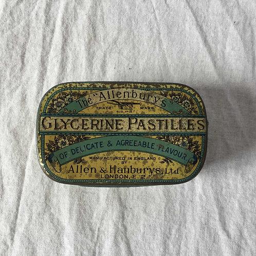 """イギリスアンティーク ブリキ缶 The """"Allenburys"""" GLYCERINE PASTILLES ティン缶(S)"""