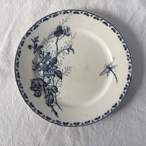 フランス アンティーク サルグミンヌ デザート皿 プレート 21cm (No1 花A-トンボ)