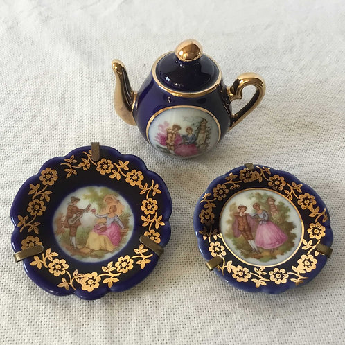 (ミニチュア)フランス アンティーク リモージュ 金彩 ティーポット&絵皿2枚(金具付き) 3点セット