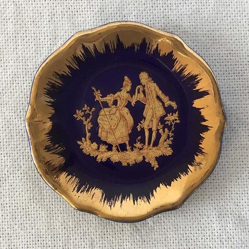 フランス アンティーク リモージュ 金彩 ミニチュア  絵皿C  5.4cm (金具なし)