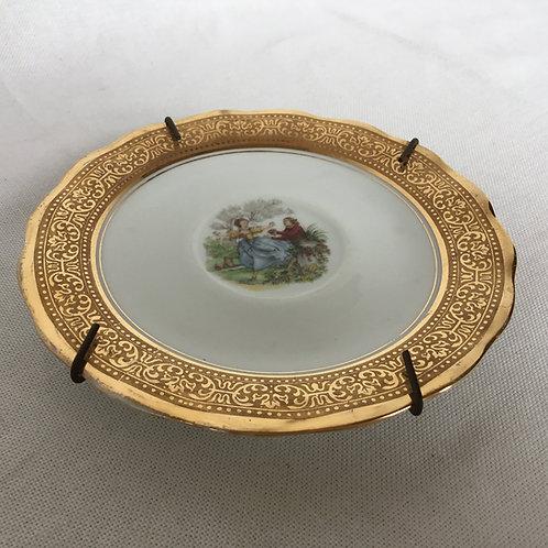 フランスアンティーク リモージュ 金彩 壁掛けプレート 絵皿 ゴールドB 14cm(金具付き)