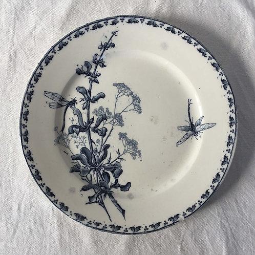 フランス アンティークプレート 皿 サルグミンヌ  21cm (No7 花B-トンボ)