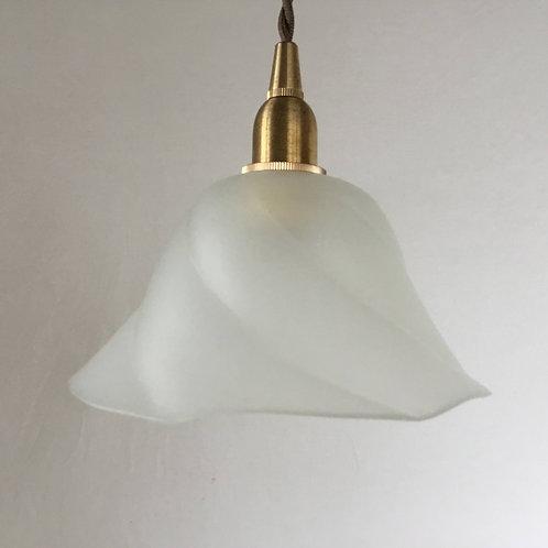 フランス アンティーク ランプシェード 照明 フロストガラス 渦巻き (すりガラス)(シェードのみ)(在庫3)