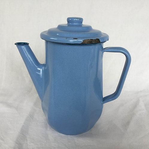 フランスアンティーク ホーロー コーヒーポット カフェティエール フィルター付き ブルー 水色