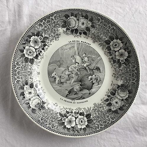 フランス クレイユ エ モントロー アンティーク グリザイユ プレート 皿 ' LA REINE MARGOT  No4'  (1844 - 49)