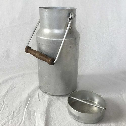 フランスアンティーク アルミニウム 木製ハンドル ミルク缶 ミルクポット 大 25 cm (L)