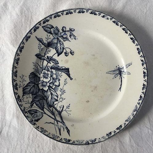 フランス アンティーク サルグミンヌ デザート皿 プレート 21cm (No11 花D-トンボ)