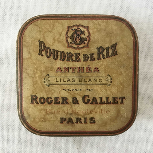 フランス ロジェ・ガレ ROGER&GALLET PARIS アンティーク フェイスパウダー箱 ホワイトライラック