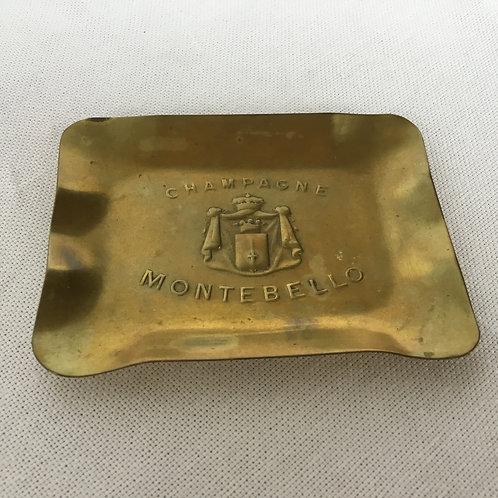 """フランスアンティーク """"Champagne Montebello""""真鍮ピントレー 灰皿 小物入れ 長方形"""