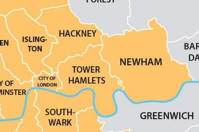 Tower Hamlets and Newham map