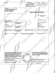 Certficate of Origin (CO)