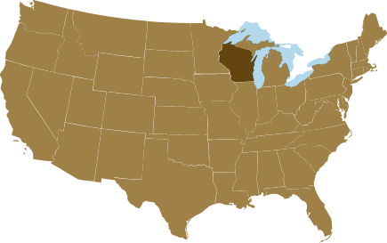 A map of the United States showing the Wisconsin American ginseng growing region