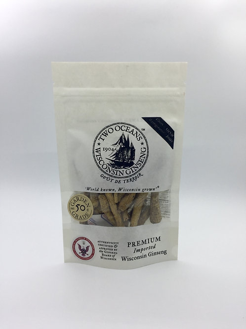 Two Oceans Wisconsin Heritage ginseng roots in pouch, front.