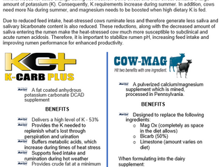 Cool the effects of Heat Stress with  K-CARB PLUS and COW-MAG