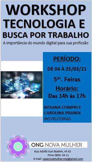 WORKSHOP TECNOLOGIA E BUSCA POR TRABALHO