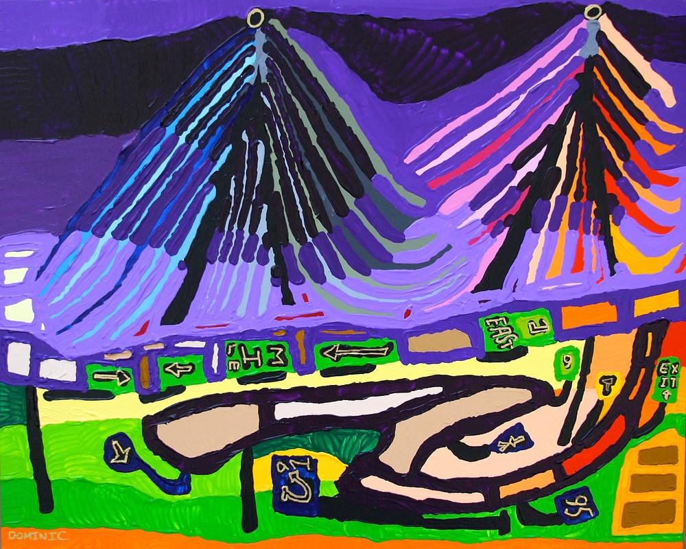 Zakim Bridge at Night 24 x 30, framed
