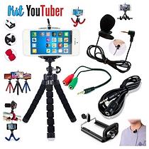 Kit Youtuber 8 Mini Tripe para Smartphone Microfone Lapela Cabo Extensor