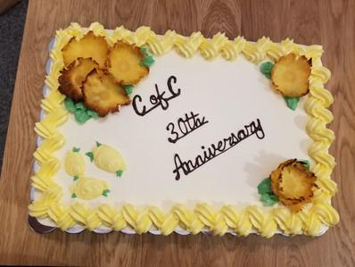 Chamber of Commerce anniversary cake; lemon cake, with lemon curd filling and lemon buttercream