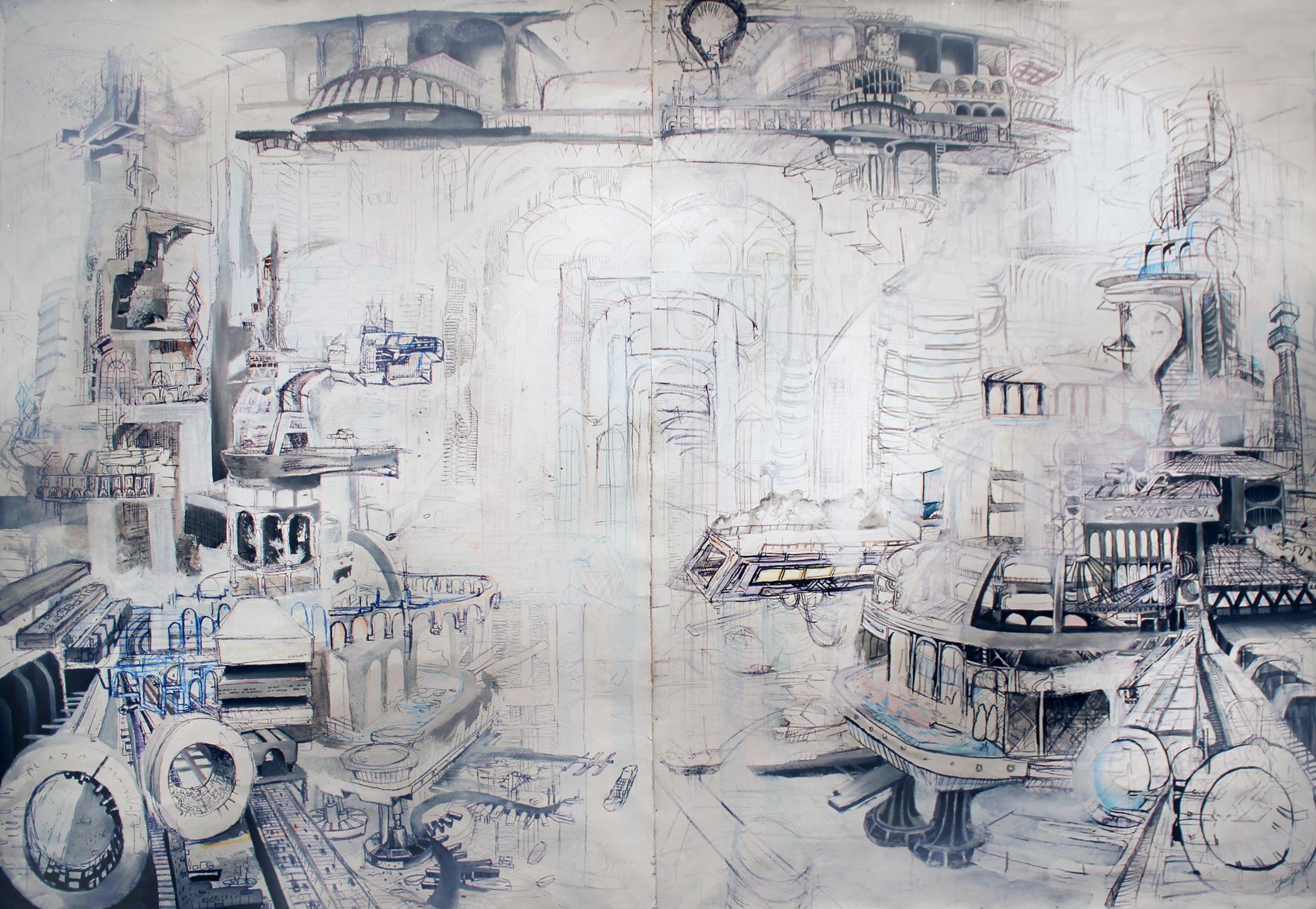 Cosmopolita- Acrylic, Ink, Gesso, Graphite on  canvas.JuanGarcia
