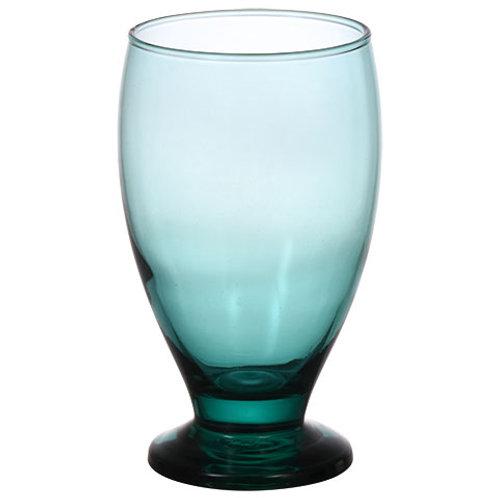 Smoke Green Glass Goblets, 12 oz