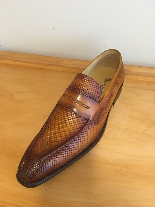 Cognac Woven Burnished Toe Loafer
