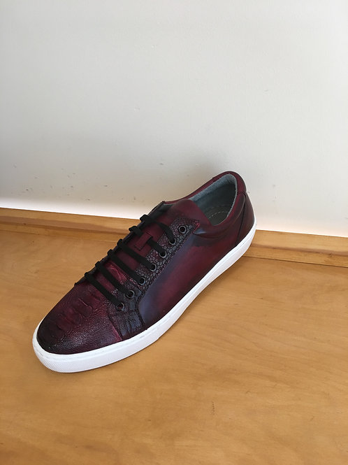 Wine Ostrich Leg and Calfskin Sneaker