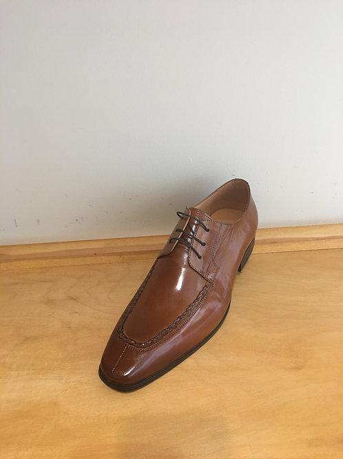 Cognac Woven Split Toe Leather Oxford